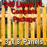 3' x 240' Traditional Adams Style Cedar Wood Picket Fence Complete Package