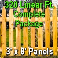 3' x 320' Traditional Adams Style Cedar Wood Picket Fence Complete Package