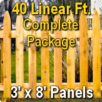 3' x 40' Traditional Adams Style Cedar Wood Picket Fence Complete Package