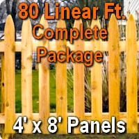 4' x 80' Traditional Adams Style Cedar Wood Picket Fence Complete Package