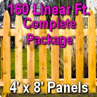 4' x 160' Traditional Adams Style Cedar Wood Picket Fence Complete Package
