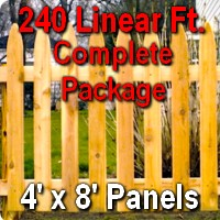 4' x 240' Traditional Adams Style Cedar Wood Picket Fence Complete Package