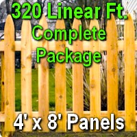 4' x 320' Traditional Adams Style Cedar Wood Picket Fence Complete Package