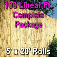 5' x 100' Natural Bamboo Reed Fencing Complete Set