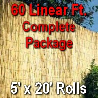5' x 60' Natural Bamboo Reed Fencing Complete Set