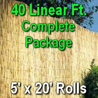 5' x 40' Natural Bamboo Reed Fencing Complete Set