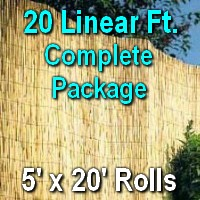 5' x 20' Natural Bamboo Reed Fencing Complete Set