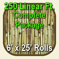 6' x 250' Natural Bamboo Reed Fencing Complete Set