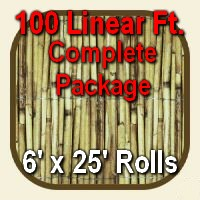 6' x 100' Natural Bamboo Reed Fencing Complete Set