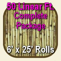 6' x 50' Natural Bamboo Reed Fencing Complete Set