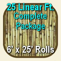 6' x 25' Natural Bamboo Reed Fencing Complete Set