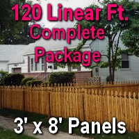 3' X 120' Semi-private Garfield Wood Cedar Picket Fence Complete Package