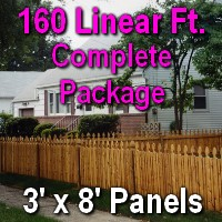 3' X 160' Semi-private Garfield Wood Cedar Picket Fence Complete Package