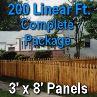 3' X 200' Semi-private Garfield Wood Cedar Picket Fence Complete Package