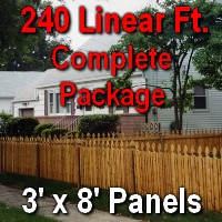 3' X 240' Semi-private Garfield Wood Cedar Picket Fence Complete Package