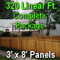 3' X 320' Semi-private Garfield Wood Cedar Picket Fence Complete Package