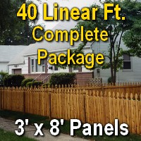3' X 40' Semi-private Garfield Wood Cedar Picket Fence Complete Package