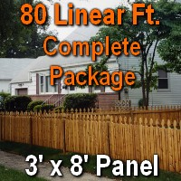 3' X 80' Semi-private Garfield Wood Cedar Picket Fence Complete Package