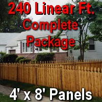 4' X 240' Semi-private Garfield Cedar Picket Fence