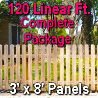 3' x 120' Traditional Jefferson Style Cedar Wood Picket Fence Complete Package