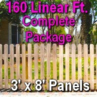 3' x 160' Traditional Jefferson Style Cedar Wood Picket Fence Complete Package