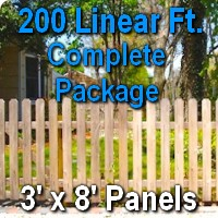 3' x 200' Traditional Jefferson Style Cedar Wood Picket Fence Complete Package
