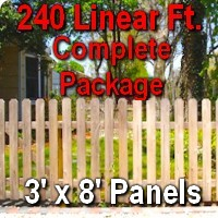 3' x 240' Traditional Jefferson Style Cedar Wood Picket Fence Complete Package