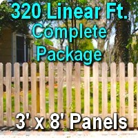 3' x 320' Traditional Jefferson Style Cedar Wood Picket Fence Complete Package