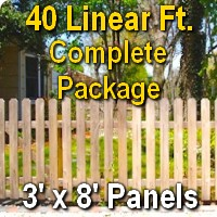3' x 40' Traditional Jefferson Style Cedar Wood Picket Fence Complete Package