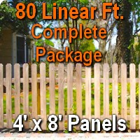 4' x 80' Traditional Jefferson Style Cedar Wood Picket Fence Complete Package