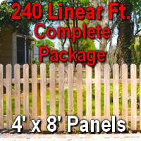 4' x 240' Traditional Jefferson Style Cedar Wood Picket Fence Complete Package