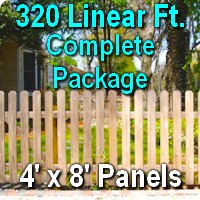 4' x 320' Traditional Jefferson Style Cedar Wood Picket Fence Complete Package