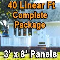 Brand New 40 Feet White PVC Deck Porch Railing Complete Package