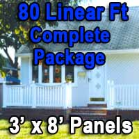 Brand New 80 Feet White PVC Deck Porch Railing Complete Package