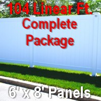 Brand New 6' x 104' Semi Private PVC Fence Complete Package