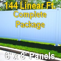 Brand New 6' x 144' Semi Private PVC Fence Complete Package