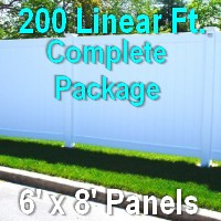 Brand New 6' x 200' Semi Private PVC Fence Complete Package
