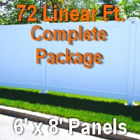 Brand New 6' x 72' Semi Private PVC Fence Complete Package