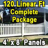 Brand New 4' x 120' PVC Picket Fence Complete Package