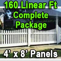 Brand New 4' x 160' PVC Picket Fence Complete Package