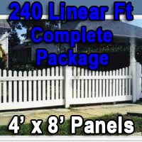 Brand New 4' x 240' PVC Picket Fence Complete Package
