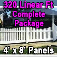 Brand New 4' x 320' PVC Picket Fence Complete Package