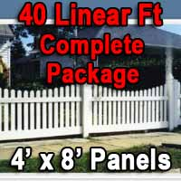 Brand New 4' x 40' PVC Picket Fence Complete Package