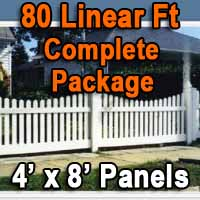 Brand New 4' x 80' PVC Picket Fence Complete Package