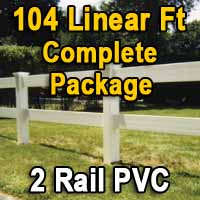 Brand New 104 Feet PVC 2 Rail Post and Rail Fence Complete Package