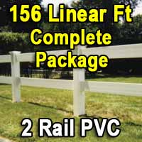 Brand New 156 Feet PVC 2 Rail Post and Rail Fence Complete Package