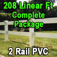 Brand New 208 Feet PVC 2 Rail Post and Rail Fence Complete Package