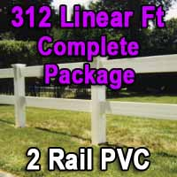 Brand New 312 Feet PVC 2 Rail Post and Rail Fence Complete Package