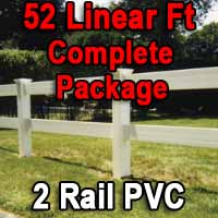 Brand New 52 Feet PVC 2 Rail Post and Rail Fence Complete Package