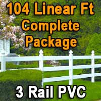 Brand New 104 Feet PVC 3 Rail Post and Rail Fence Complete Package